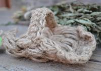 Натуральная мочалка из льна, ладошка